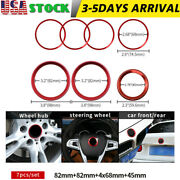 Red 7pcs Front Hood Trunk 82mm 45mm 68mm Wheel Cover Rings For Bmw Badge Emblem
