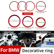 Red 7pcs Front Hood Trunk 82mm 74mm 45mm 68mm For Bmw Badge Emblem Decor Rings