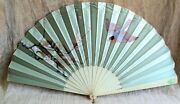 Antique Exceptional Extra Large Victorian Hand Painted Silk Hand Fan 28 Across