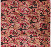 Square Hand Knotted William Morris Wool Rug 9and039 10 X 10and039 7 - P6839
