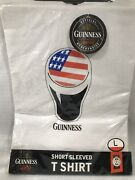 Menand039s Shirt T Guinness St Patrickand039s American Flag White Irish Beer Pint Large L