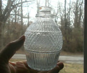 1830s Early Keene 3 Mold Pontiled Decanter Whimsey Bottle Crude Applied Rings