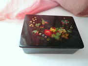 Vtg Antique Victorian Sewing Jewelry Hand Painted Bird Flowers Vanity Wooden Box
