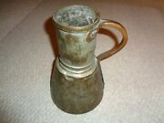 Large Hand Made Hammered Copper Primitive Pitcher Thick Mold Scrolled Handle Tub