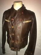 Vtg Wwii Brown German Pilot Cyclist Leather Motorcycle Luftwaffe Jacket