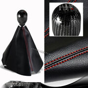 Jdm Pvc Leather Red Stitch Manual Shift Boot + T-r 5-speed Carbon Shifter Knob