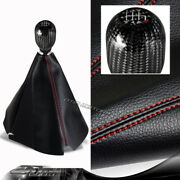 Jdm Pvc Leather Red Stitch Manual Shift Boot + T-r 6-speed Carbon Shifter Knob