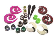 5 Pair Grab Bag Plugs Tunnels Tapers Gauges In Steel Silicone Acrylic Ear