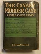 Inscribed 1st Canary Murder Case S.s. Van Dine In Scarce Dust Jacket 1927