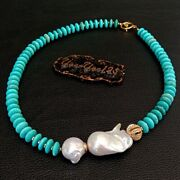 Freshwater Cultured White Keshi Pearl Blue Disc Turquoise Necklace 20