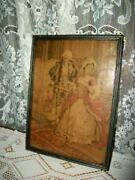 1920s French Tapestry Romantic Couple Parlor Farmhouse Silver Wood Frame Antique