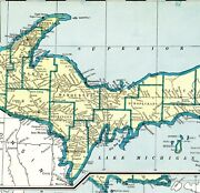 1937 Antique Michigan State Map Rare Size Map Of Michigan Poster Size 7433
