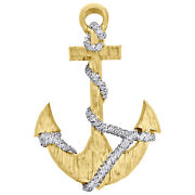 14k Yellow Gold Diamond Hammered Anchor Sailor Rope Pendant 2 Charm 1.05 Ct.