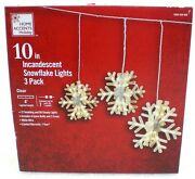 Home Accents Holiday 10 Snowflake Lights 3 Pack Incandescent Twinkling New