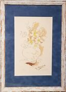 Georges Braque Original Hand Signed Lithograph Carnets Intime Yellow Bouquet Art