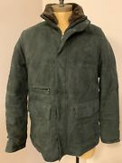 Isaia Forest Green Suede Coat Barn Jacket Sz 52 It Us 42 Quilted Warm Fur Collar