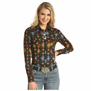 B4s4079 Rock And Roll Cowgirl Juniors Dale Brisby Aztec Print Shirt New