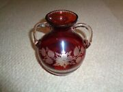 Red Glass Cut To Clear Bulbous Vase Clear Side Handles Etched Flowers Leafs Thic