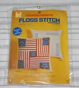 Vintage 1975 Columbia-minerva Floss Stitch Embroidery Flag Pillow Kit Unopened