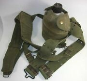 Wwii Military U.s. Sm Co. Canteen With Canteen Cover Cup Belt And Suspenders