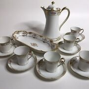 Antique Nippon Hand Painted Chocolate Pot 6 Cups Saucers Oval Dish Coffee Teapot