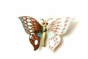 Beautiful 18k Gold Articulated Butterfly Stained Glass Wings Brooch Pen6028