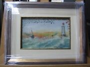 Antique Listed Richard Dey De Ribcowsky Oil On Carton Lighthouse Painting Signed