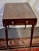 Henredon Aston Court End Or Side 1-drawer Drop-leaf Table W/inlay + Casters 1960