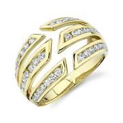 Yellow Gold Diamond Claw Cocktail Ring Womens Open Statement Right Hand Size 7