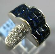 5.02ct Diamond Andaaa Sapphire 18k White Gold Round Andprincess Invisible Crown Ring