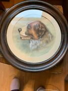 Antique Signed Round Beautiful St Bernard Dog Painting With Free Shipping