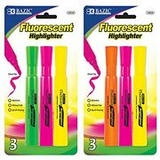 Bazic Desk Style Fluorescent Highlighters 3/pack