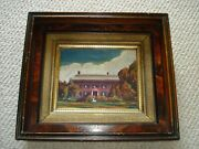 1900and039s Folk Art Primitive Oil Painting Large House Trees Grass Blue Skies White