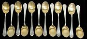 And Co Flemish 12 Sterling Silver Gold Wash Bowl 5 3/4 Ice Cream Spoons