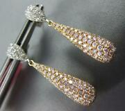 1.29ct White And Pink Diamond 18kt White And Rose Gold 3d Tear Drop Hanging Earrings