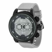 New Geneva 20337 Laser Crystal Faux Chrono Black And Grey Silicone Sport Watch
