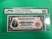 1924 One Peso Philippines National Bank Conant D2577043d P-56 Pmg Ch Vf 35 Scar