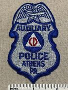 Vintage Civil Defense Auxiliary Police Embroidered Badge Patch Athens Pa Cd
