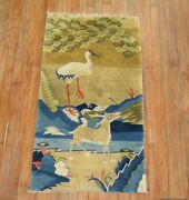 Antique Chinese Peking Deer Rug Size 2and0392and039and039x4and0392and039and039