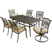 Hanover Traditions7pc 4 Dining Chairs 2 Swivel Rockers 38x72 Cast Table-t...