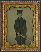 Photo Civil War Confederate In Uniform With Red Sash And Sword
