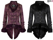 Womens Victorian Steampunk Military Gothic Brocade Tailcoat Corset Back Jacket