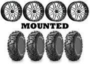 Kit 4 Maxxis Bighorn Radial Tires 26x10-15 On Msa M38 Brute Machined Wheels Can