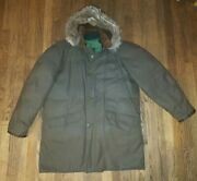 Nice Vintage Falcon Brand Se Woods Down Parka L Military Style Army Coat Leather