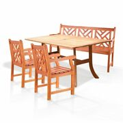 Outdoor Eucalyptus Dining Set With Bench, 2 Chairs, And Table