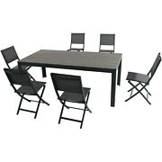 Hanover Tucson7pc 6 Aluminum Sling Folding Chairs, Faux Wood Dining Table-gl...