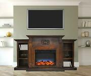 Sanoma 72 In. Electric Fireplace In Walnut With Built-in Bookshelves And A Mu...