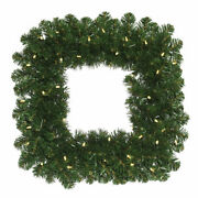 Vickerman 30 Oregon Fir Artificial Christmas Square Wreath With 70 Warm Whit...