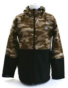 Neff Softshell Camouflage And Black Zip Front Hooded Snow Jacket Menand039s New