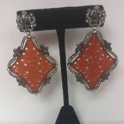 18k Gold 925 Silver Carved Agate And Diamond Dangle Earrings Fine Jewelry